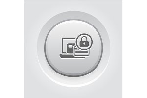 Secure Payment Icon. Grey Button Design.