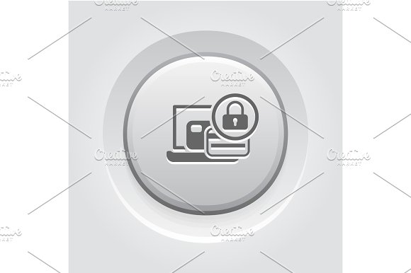 Secure Payment Icon Grey Button Design