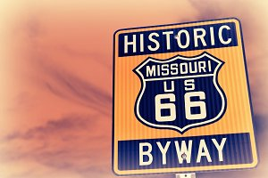 Historic route 66 highway sign.