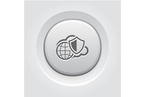 Safety Global Cloud Icon. Grey Button Design.