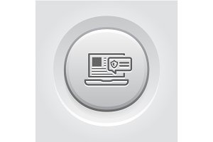 Security Alert Icon. Grey Button Design.
