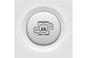 Encrypted Messaging Icon. Grey Button Design.