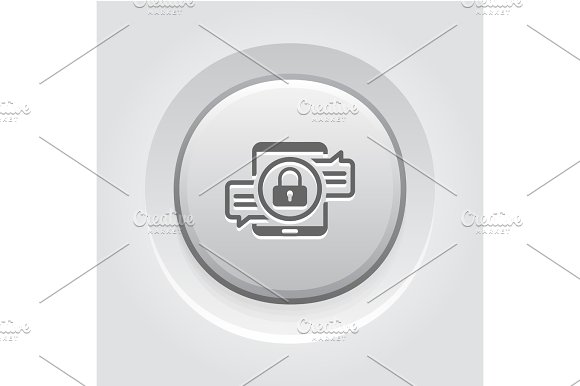 Encrypted Messaging Icon Grey Button Design