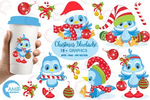 Christmas Bluebirds Clipart AMB-192