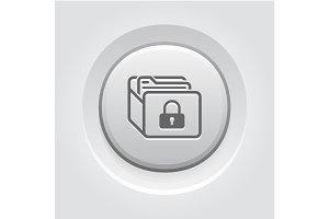 Database Security Icon. Grey Button Design.