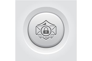 Email Security Icon. Grey Button Design.