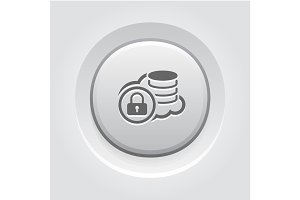 Secure Cloud Storage Icon. Grey Button Design.