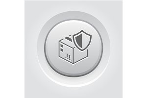 Cargo Protection Icon. Grey Button Design.