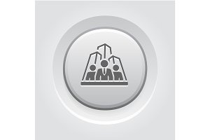 Security Agency Icon. Grey Button Design.
