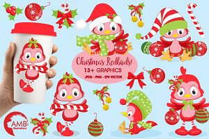 Christmas Redbirds Clipart AMB-193