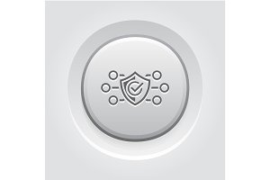 Protection and Safety Icon. Grey Button Design.