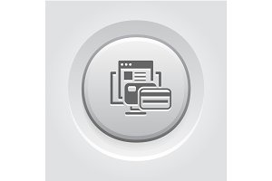 Online Payment Icon. Grey Button Design.