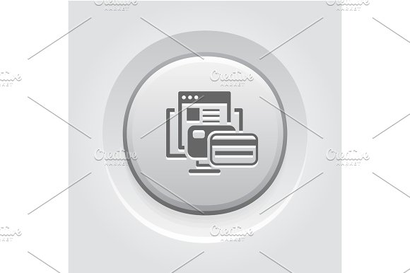 Online Payment Icon Grey Button Design