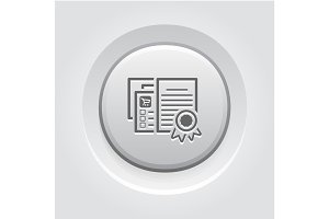 Certified Shop Icon. Grey Button Design.