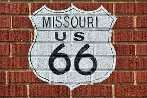 Historic Route 66 road sign.
