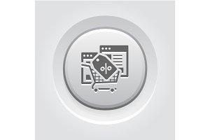 Discount Icon. Grey Button Design.