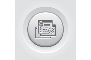 Order Processing Icon. Grey Button Design.