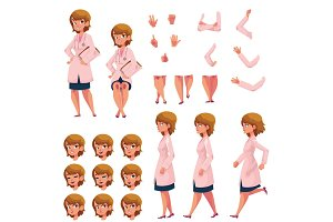 Woman, doctor in medical coat creation set