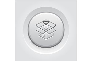Packing Icon. Grey Button Design.