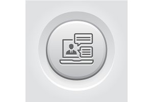 Online Consulting Icon. Grey Button Design.