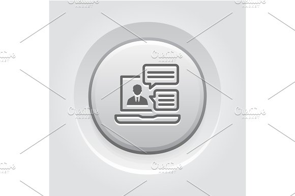 Online Consulting Icon Grey Button Design