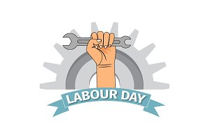Labour day poster with clenched fist