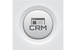 Shop CRM System Icon. Grey Button Design.