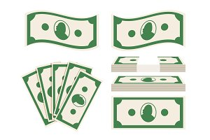 Green banknotes set