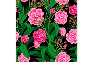 Pink flowers with green leaves pattern