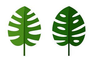 Palm leaves green flat icons