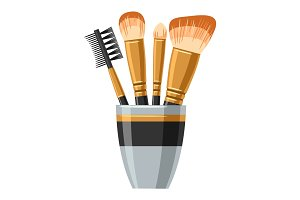 Set of brushes for make up. Illustration of object on white background in flat design style