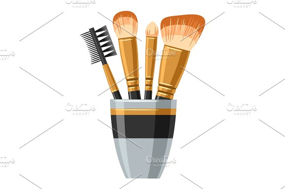Set Of Brushes For Make Up Illustration Of Object On White Background In Flat Design Style