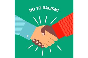 No to racism, handshake businessman agreement