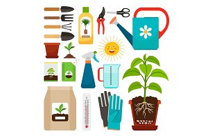 Houseplants and indoor gardening icons