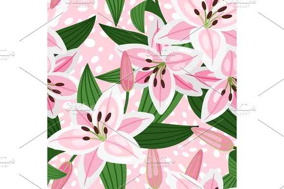 Pink Lily Floral Pattern