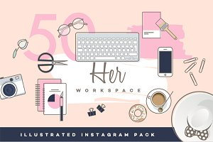 Her Workspace illustrated Insta pack