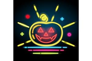 Halloween pumpkin icon. Neon electric illustration.