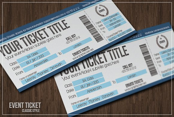 Multipurpose simple event tickets Card Templates on Creative Market – Sporting Event Ticket Template