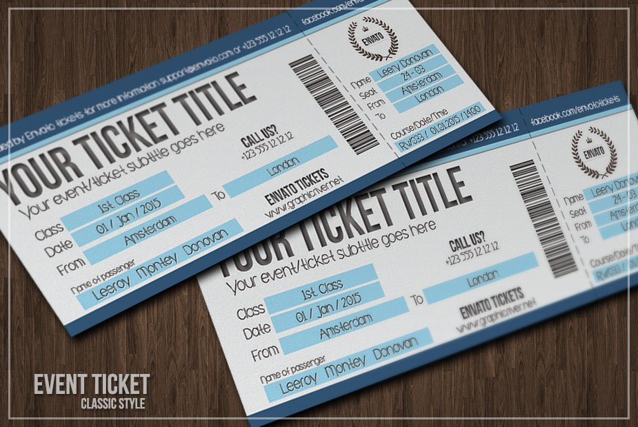 Multipurpose Simple Event Tickets Card Templates Creative Market - Event ticket template photoshop