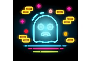 Halloween ghost icon Neon electric illustration.