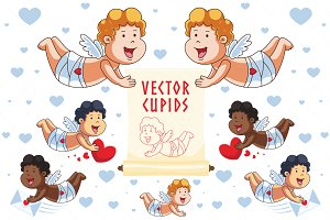Cartoon Vector Cupid Characters