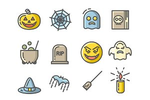 Halloween colored icons set. Linear signs collection.