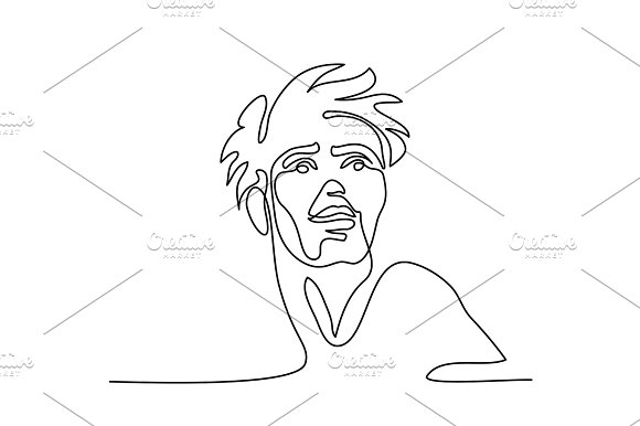 Vector Continuous Line Abstract Portrait Of A Man
