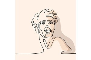Vector continuous line. Abstract portrait of a man