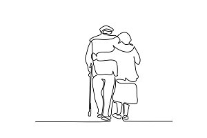 Happy elderly couple hugging and walking