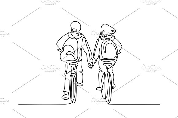 Boy And Girl Bicycling To School
