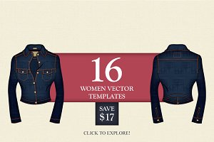 16 Women Vector Fashion Templates