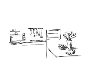 Kitchen interior drawing. Furniture sketch