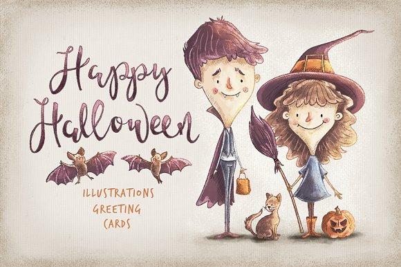 Kids Halloween Characters Elements