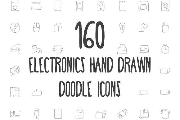 160 Electronics Hand Drawn Icons